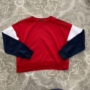 Urban Planet Color Block Cropped Sweatshirt